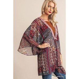 Sweaters - Kimono Cardigan Wrap Fringe Trim Detail Burgundy